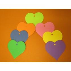 výsek srdce z kartonu, 20 ks, mix barev